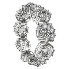 White Sapphire Blossom Gemstone Trinity Ring