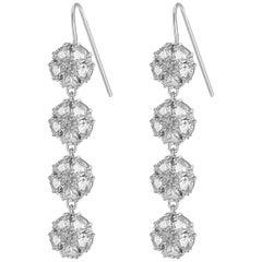 White Sapphire Blossom Gentile Chandelier Earrings