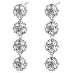 White Topaz Blossom Gentile Chandelier Earrings