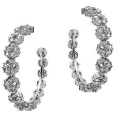 White Sapphire Blossom Gentile Large Gemstone Hoops