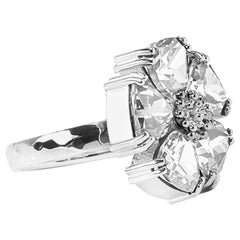 White Sapphire Blossom Large Stone Ring