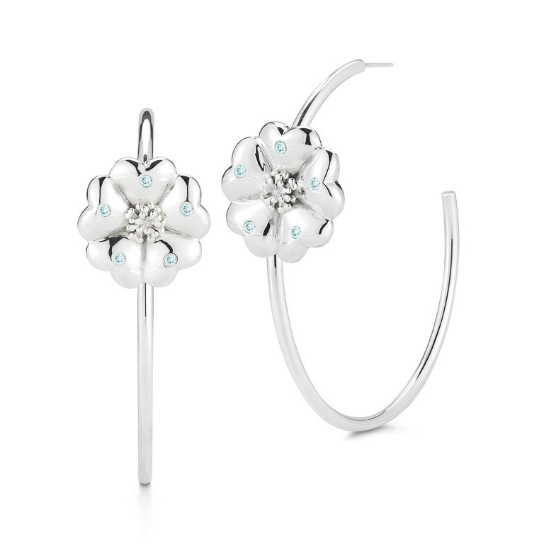 Modern White Sapphire Blossom Pave Open Hoop Earrings For Sale