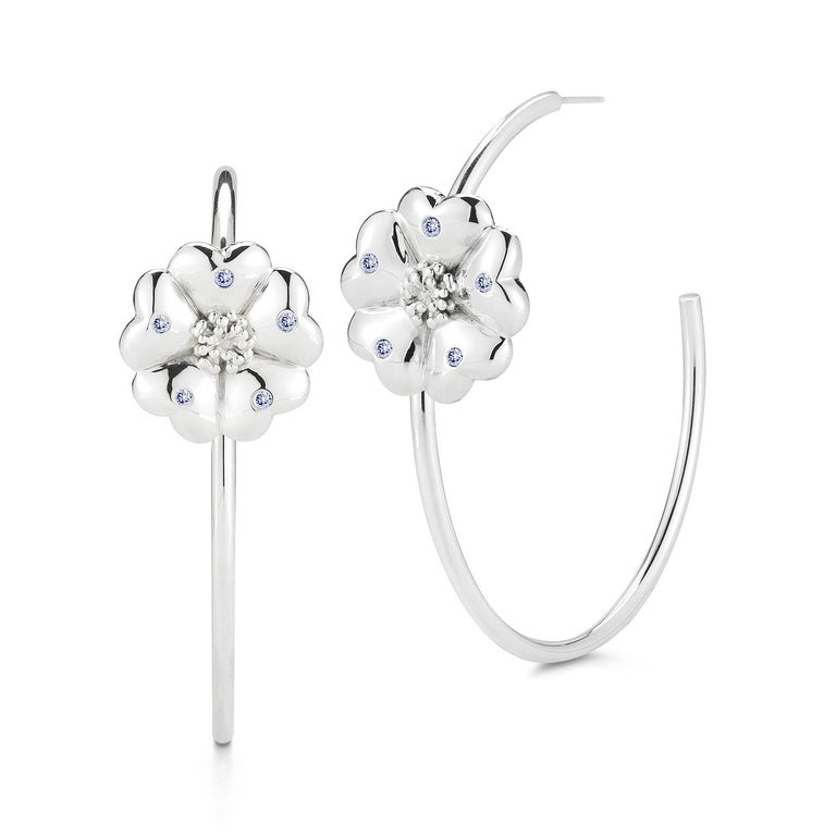 Trillion Cut White Sapphire Blossom Pave Open Hoop Earrings For Sale