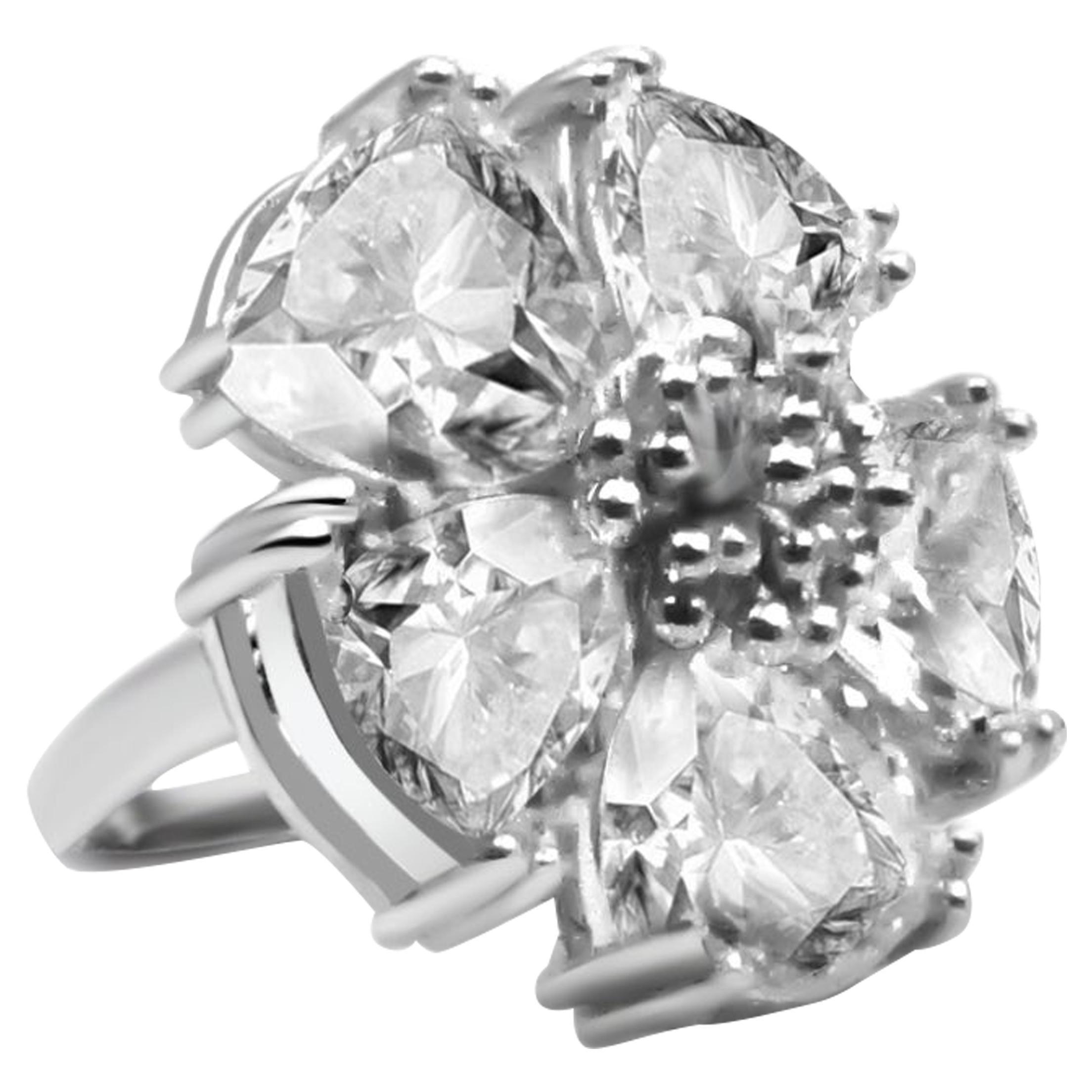White Topaz Blossom Stone Ring