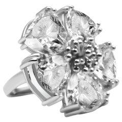 White Sapphire Blossom Stone Ring