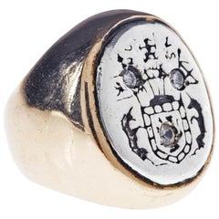 White Sapphire Crest Signet Ring Silver Bronze J Dauphin