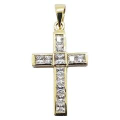 White Sapphire Cross Pendant Set in 18 Karat Gold Settings
