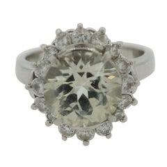White Sapphire Diamond Platinum Ring