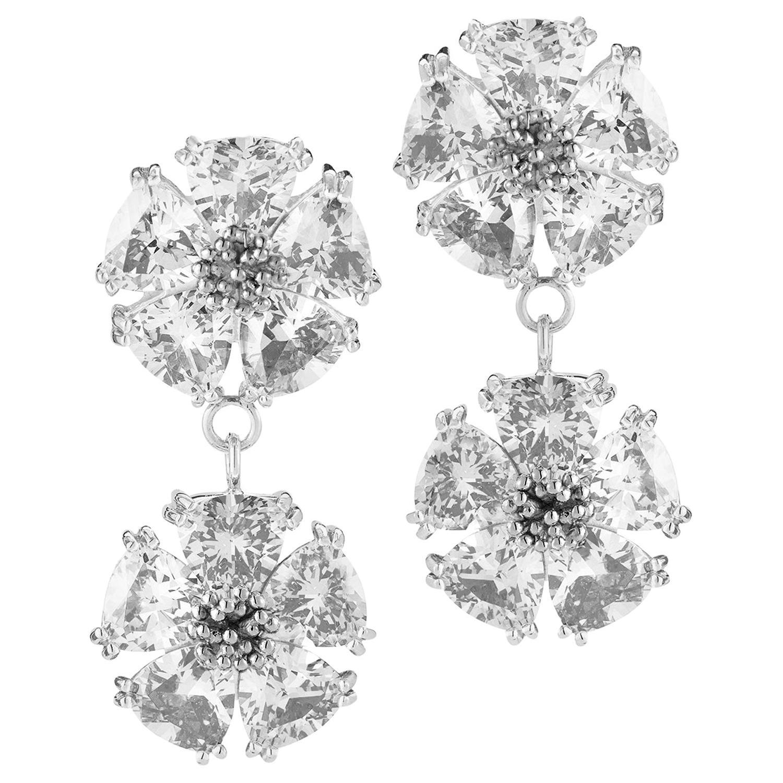 White Topaz Double Blossom Stone Earrings
