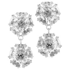 White Sapphire Double Blossom Stone Earrings