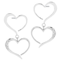 White Sapphire Double Heart Pave Dangle Earrings