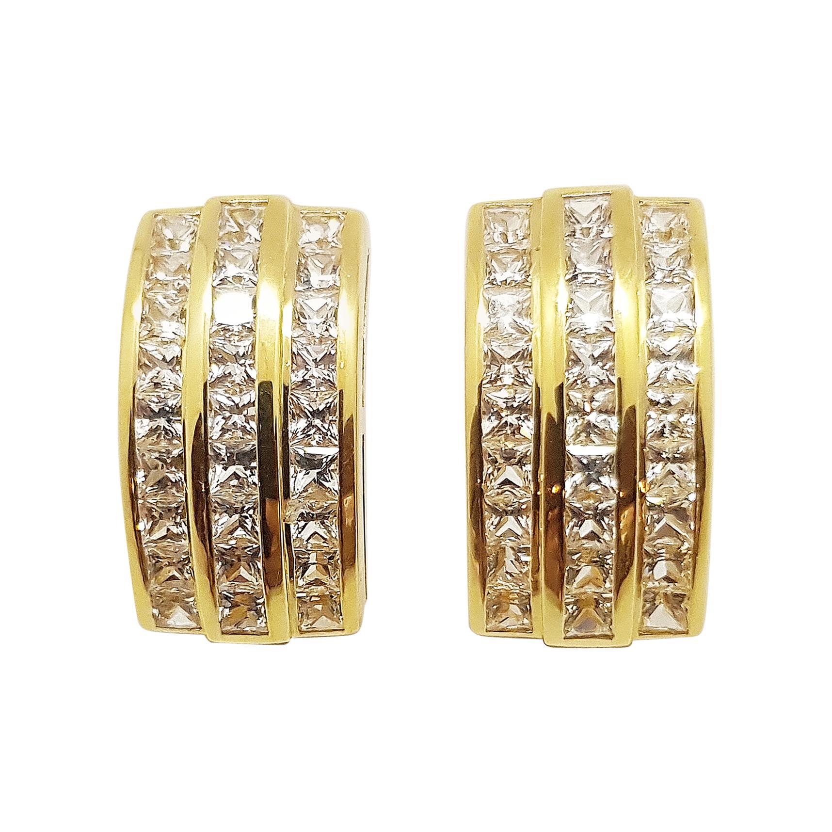 White Sapphire Earrings Set in 18 Karat Gold Settings