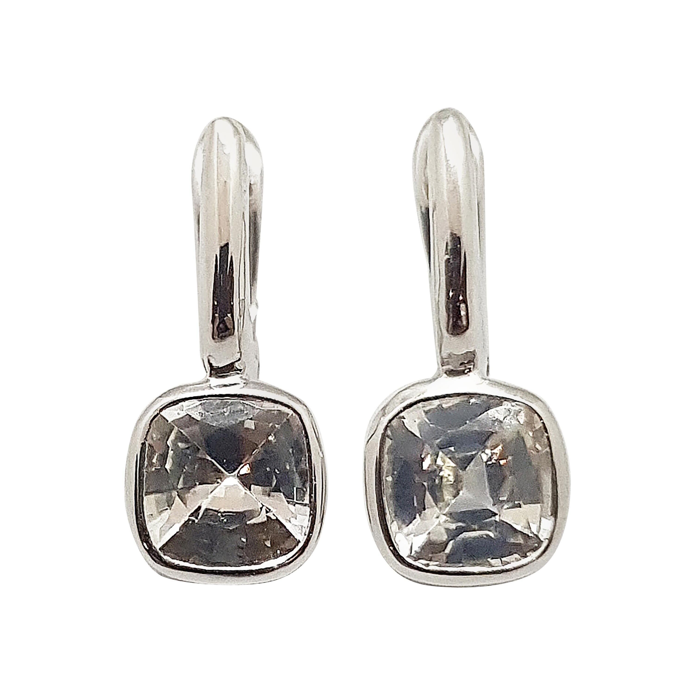 White Sapphire Earrings Set in 18 Karat White Gold Settings