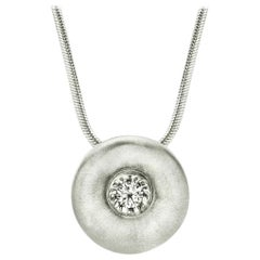 White Sapphire in Large Silver Dome Pendant