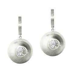 White Sapphire in Silver Drop Earrings