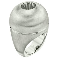 White Sapphire in Small Silver Dome Ring