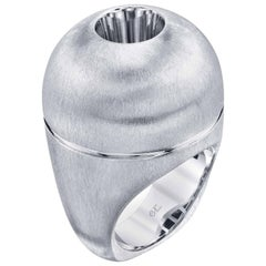 White Sapphire in Small White Gold Dome Ring