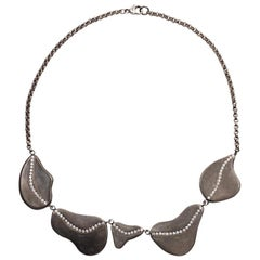 White Sapphire Pave and Oxidized Sterling Silver Stone Statement Necklace
