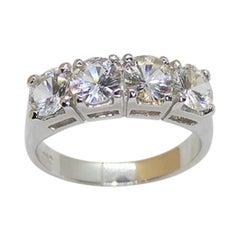 White Sapphire Ring Set in 18 Karat White Gold Settings