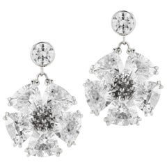 White Sapphire Single Blossom Drop Earrings