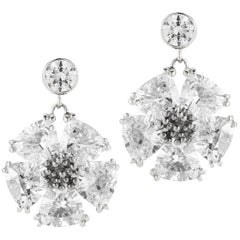 White Topaz Single Blossom Stone Drop Earrings