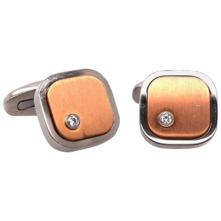 Round White Sapphire Stainless Steel Square Men Cufflinks  For Sale