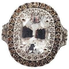 White Sapphire with Brown Diamond and Diamond Ring Set in 18 Karat White Gold