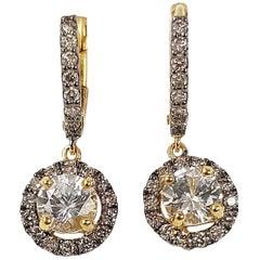 White Sapphire with Brown Diamond Earrings Set in 18 Karat Gold Settings