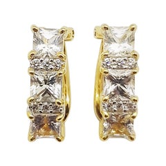 White Sapphire with Diamond Earrings Set in 18 Karat Gold Settings