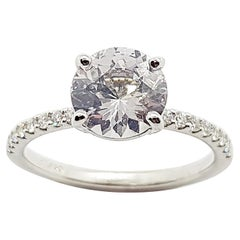 White Sapphire with Diamond Engagement Ring Set in Platinum 950 Settings
