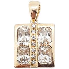 White Sapphire with Diamond Pendant Set in 18 Karat Rose Gold Settings