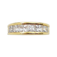 White Sapphire with Diamond Ring Set in 18 Karat Gold Settings