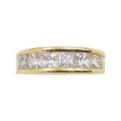 White Sapphire with Diamond Ring Set in 18 Karat Gold Settings