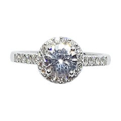 White Sapphire with Diamond Ring Set in 18 Karat White Gold Settings