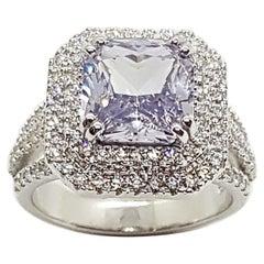 White Sapphire with Diamond Ring Set in 18 Karat White Gold Settings