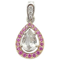 White Sapphire with Pink Sapphire and Diamond Pendant Set in 18 Karat White Gold