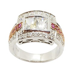 White Sapphire with Pink Sapphire and Diamond Ring Set in 18 Karat White Gold