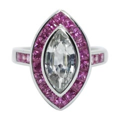 White Sapphire with Pink Sapphire Ring Set in 18 Karat White Gold Settings