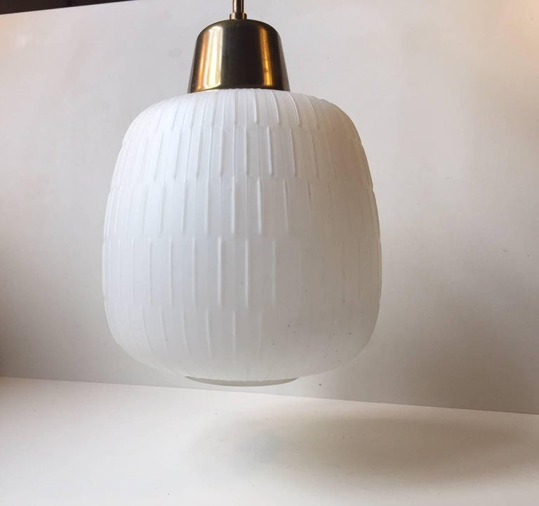 Mid-Century Modern White Scandinavian Modern Opaline Glass and Brass Pendant Lamp, 1950s For Sale