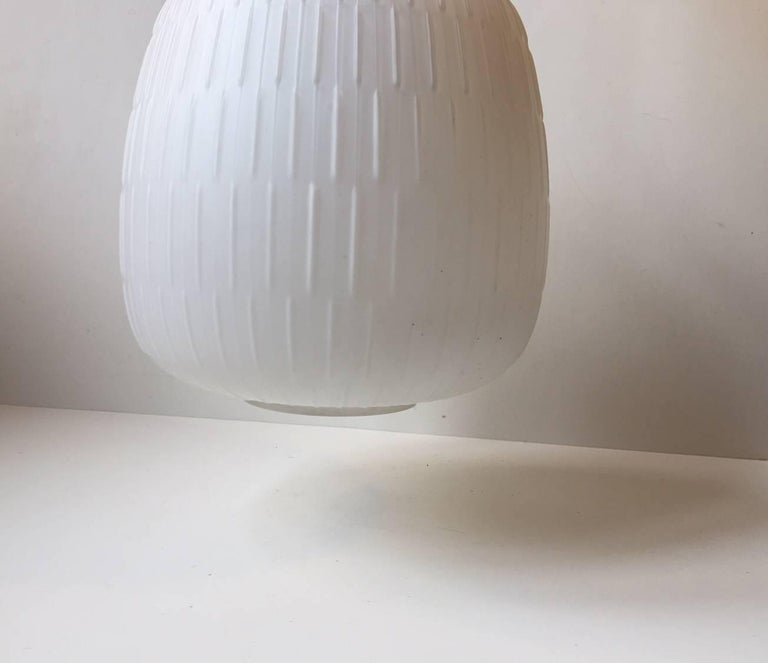 Danish White Scandinavian Modern Opaline Glass and Brass Pendant Lamp, 1950s For Sale