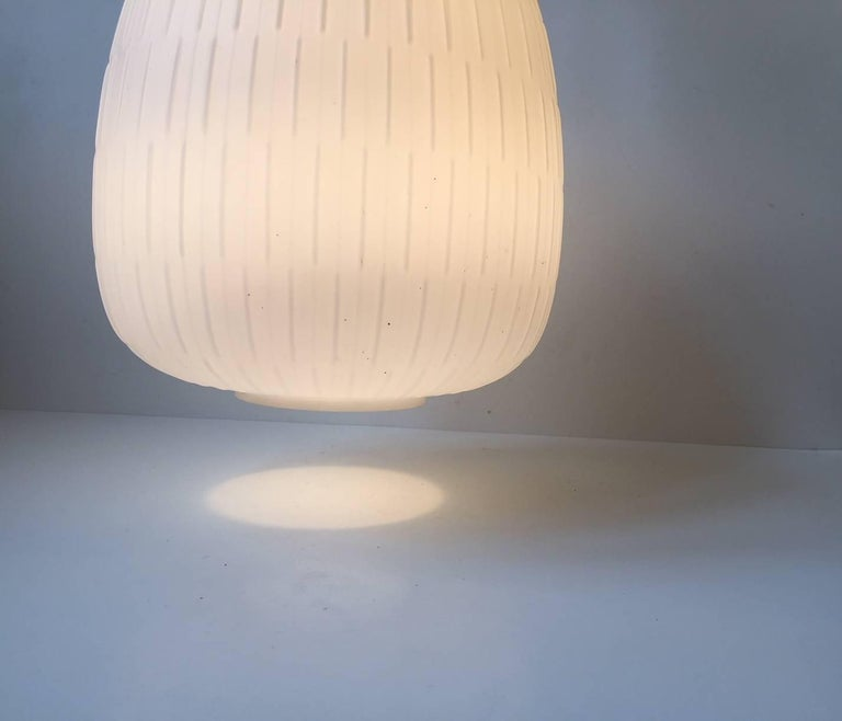 White Scandinavian Modern Opaline Glass and Brass Pendant Lamp, 1950s In Good Condition For Sale In Esbjerg, DK