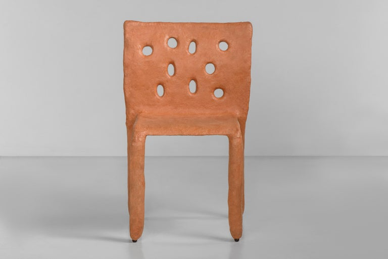 Sculpted contemporary chair by Victoria Yakusha Design: Victoriya Yakusha Material: steel, flax rubber, biopolymer, cellulose Dimensions: Height 82 x width 54 x legs depth 45 cm  Weight: 15 kilos.  Made in the style of ethnic minimalism, the