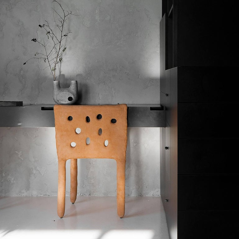 White Sculpted Contemporary Chair by Victoria Yakusha In New Condition For Sale In Collonge Bellerive, Geneve, CH