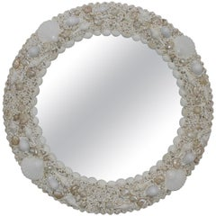 White Seashell Encrusted Mirror by Iconic Snob Galeries