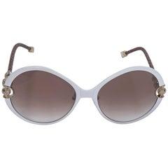 Shamballa White Divinity Round Sunglasses