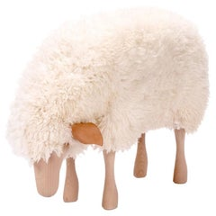 White Sheepskin with Beechwood and Leather Handmade, Small Grazing Sheep