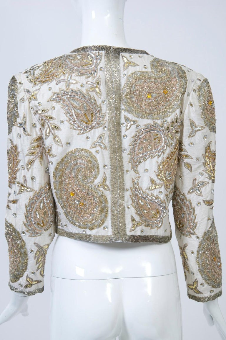 White Silk Beaded Jacket For Sale 2