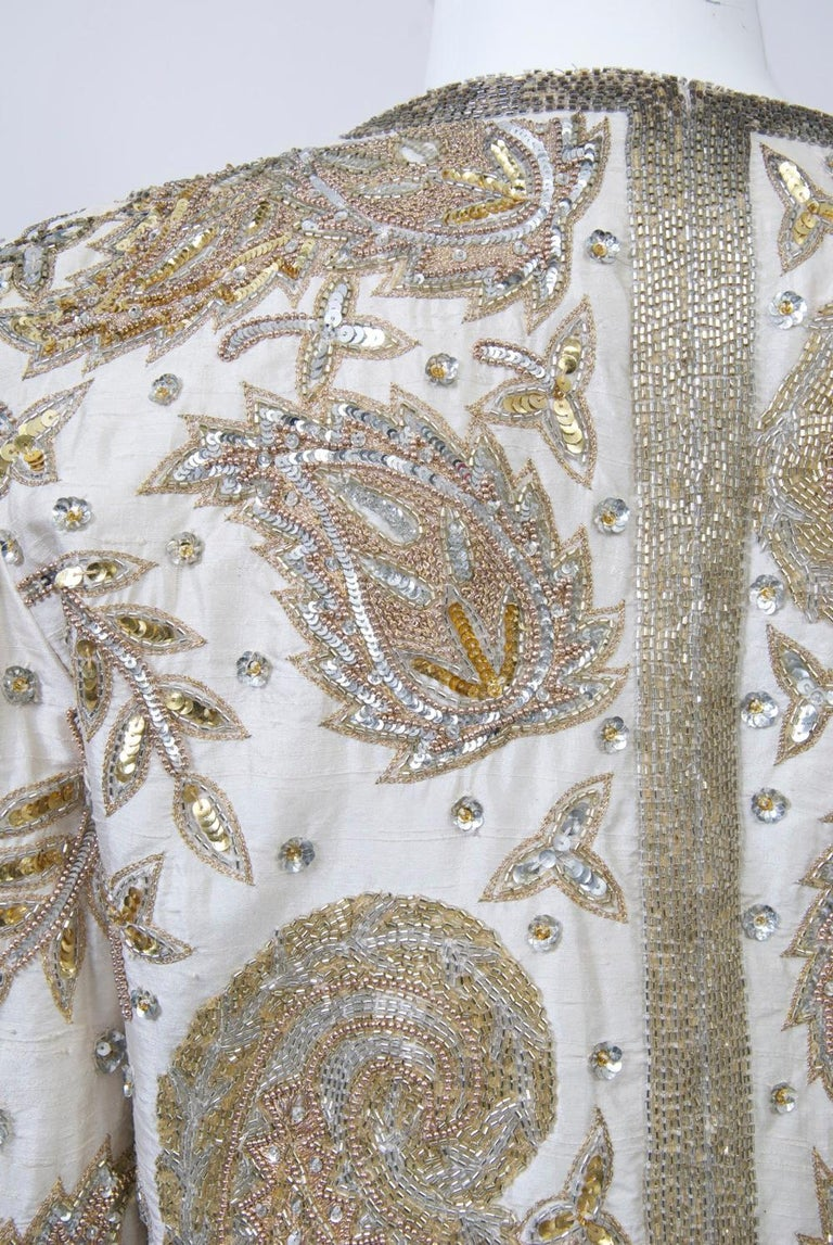 White Silk Beaded Jacket For Sale 3