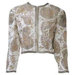 White Silk Beaded Jacket
