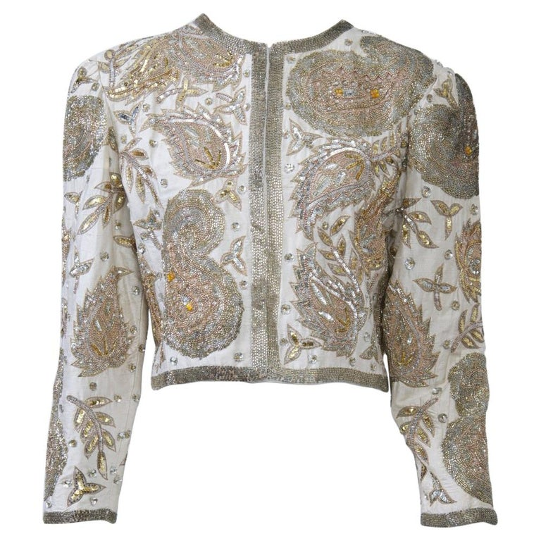 White Silk Beaded Jacket For Sale